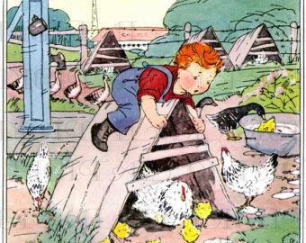 Cartoon Boy Stealing Chicken