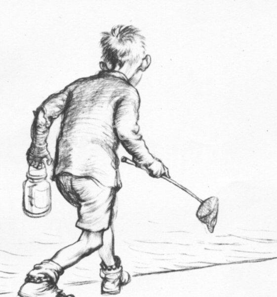 Cartoon Boy with Fishing Net